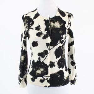 J. Crew Black and White Floral Cardigan